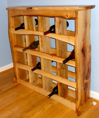 Custom Made Liv Edge Oak Wine Rack/Mini Bar