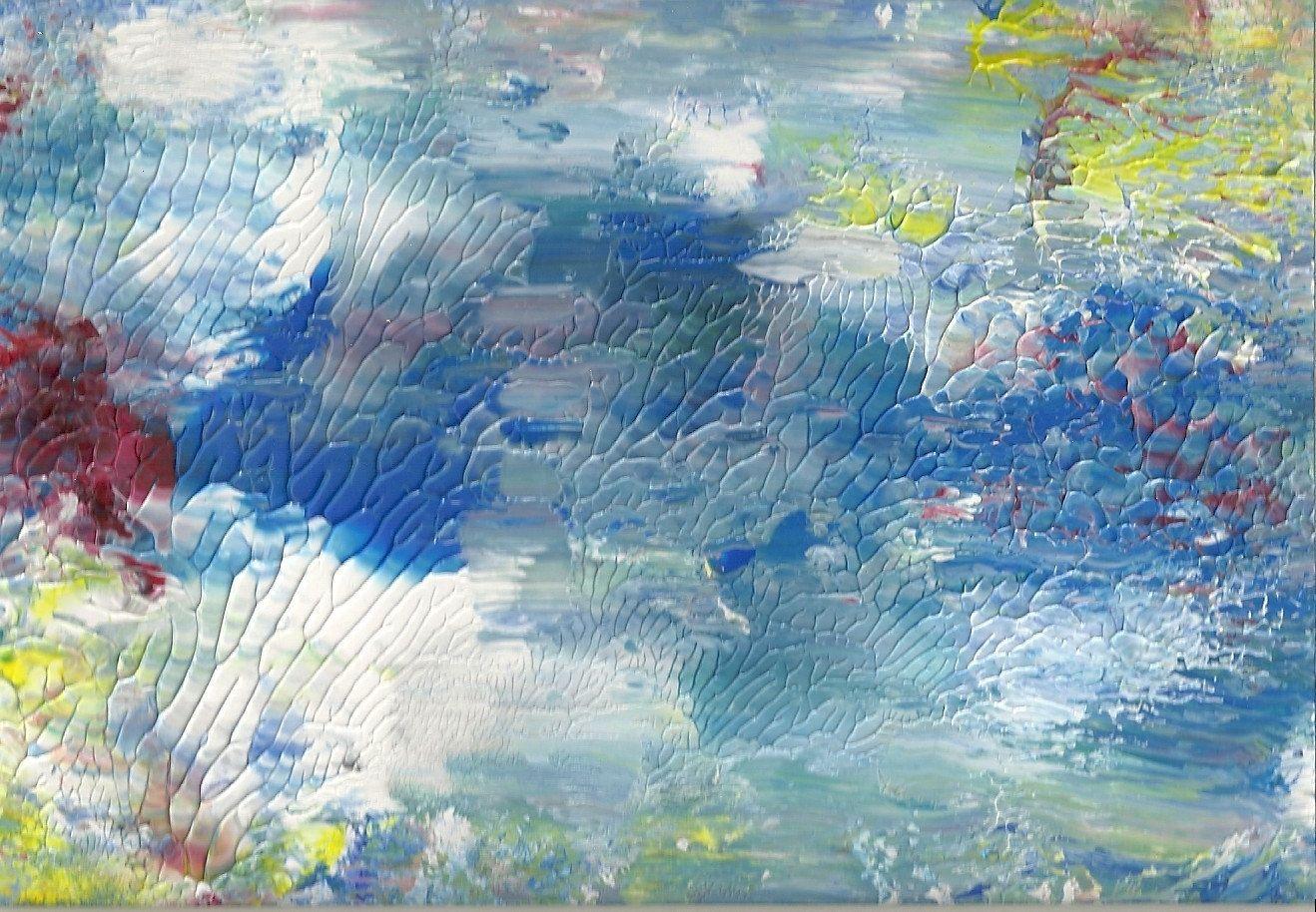 Handmade Abstract Painting S Glossy Art Print Japanese Pond