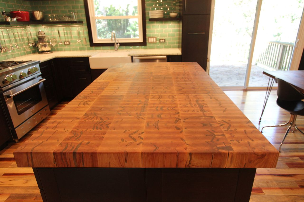 Handmade End Grain Ambrosia Maple Island Top By