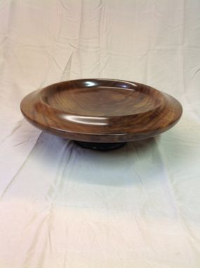 Custom Made Fourteen And One Half Inch Crotch Walnut Pedestal Platter