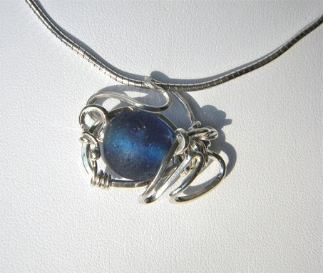 Custom Made Sea Spider Necklace With Cobalt Blue Sea Glass