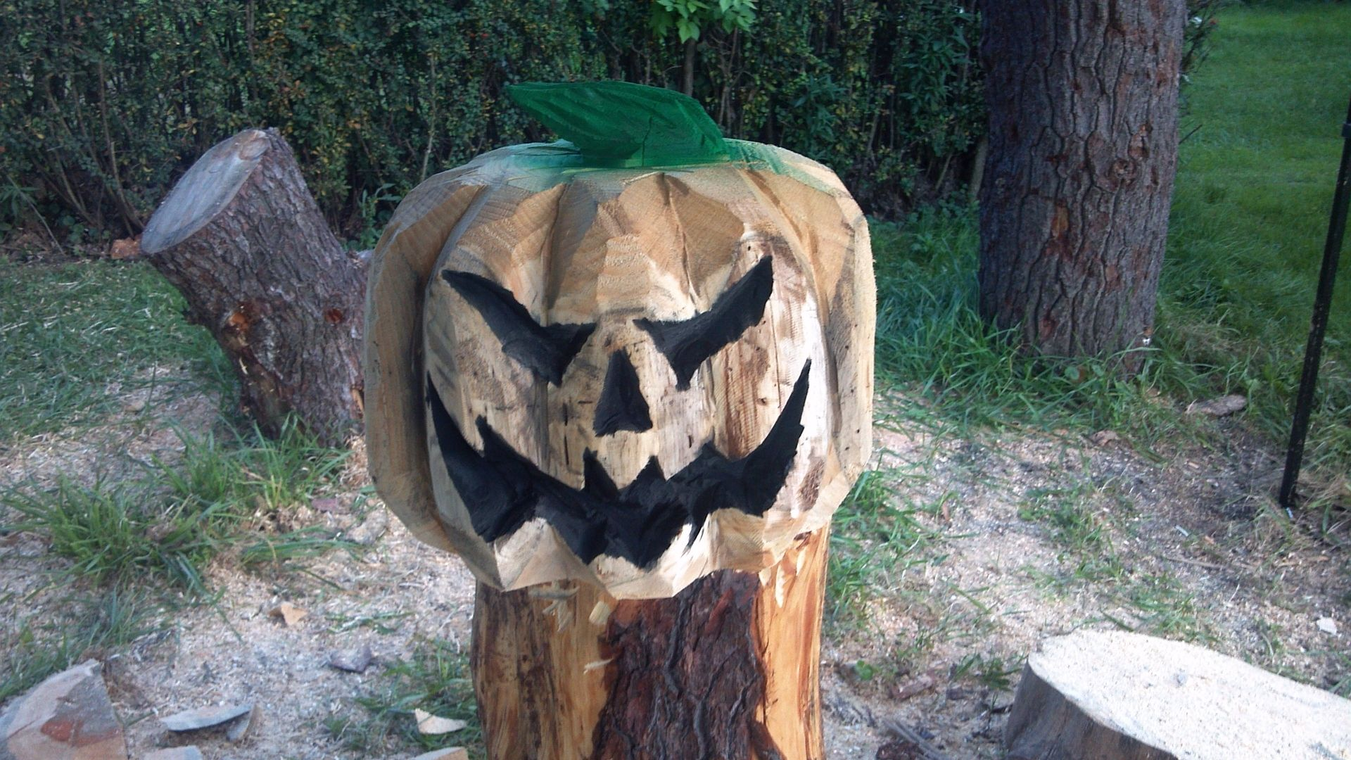 Custom made chainsaw carved jack o lantern by parrish