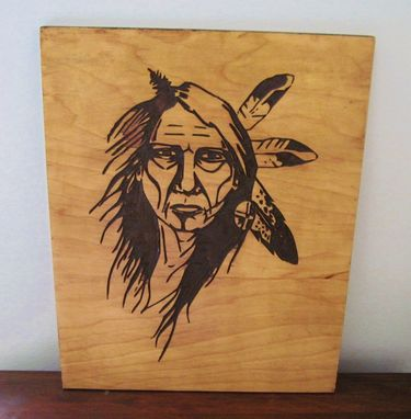 Custom Made Native American Indian Elder Woman Handmade Wood Carving Wall Art
