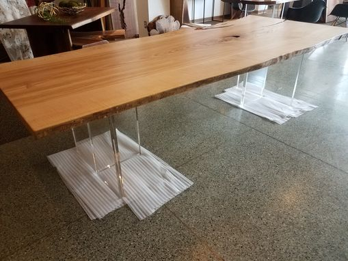 Custom Made Wood Slab Table Live Edge Solid Wood Walnut With Acrylic Legs