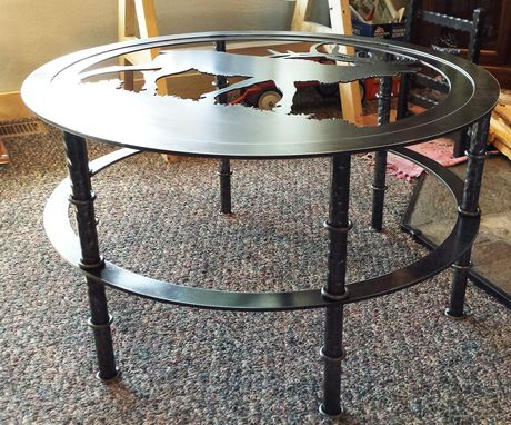Custom Made Custom Round Wrought Iron Bugling Elk Coffee Table With Glass Top And Six Legs