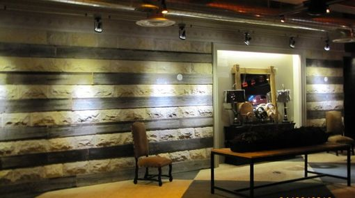 Custom Made Salvaged Barn Wood And Stone Wall