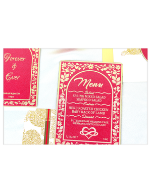 Custom Made Brass & Red Shimmer Wedding Stationery- Ruby Treat