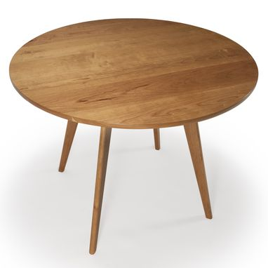 Custom Made Round Kitchen Table, Mid Century Modern Dining Table, Solid Cherry Wood, Pedestal Table,