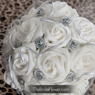Custom Made Silver And White Sparkly Bouquet With Tulle