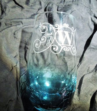 Custom Made Glass Etching Monogram Hand Made Personalized Gift