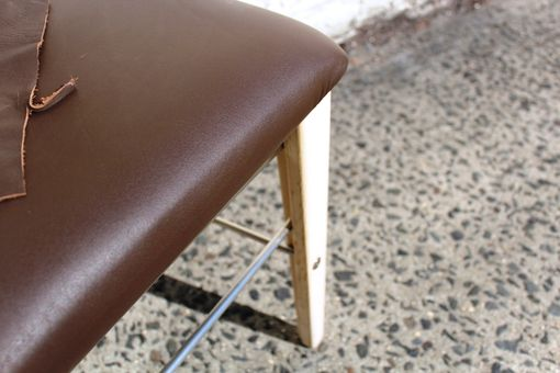 Custom Made Brown Leather Stainless Steel Pickled Oak Low Back Chair