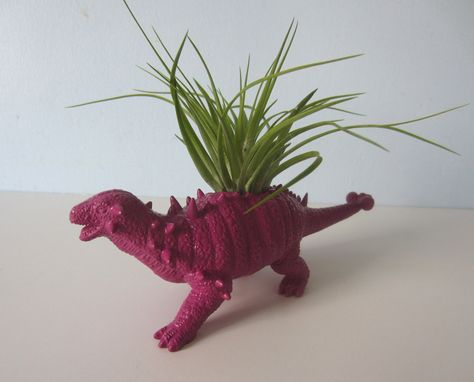 Custom Made Upcycled Dinosaur Planter - Purple Ankylosaurus With Air Plant