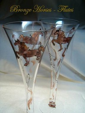 Custom Made Bronze Horse Designed Champagne Flutes