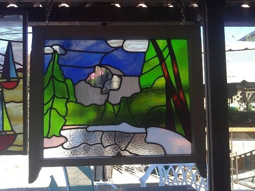 Custom Made Stained Glass Window Of Half Dome In Yosemite