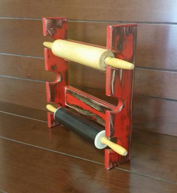 Custom Made Red Rolling Pin Rack With Three Slots - Rolling Pin Rack - Rolling Pin Holder - Rolling Pin Storage