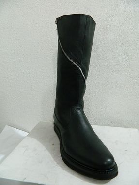 Custom Made Round Toe 16 Inches Tall Long Twisted Zip In Chrome And Flat Heel Sole Any Size