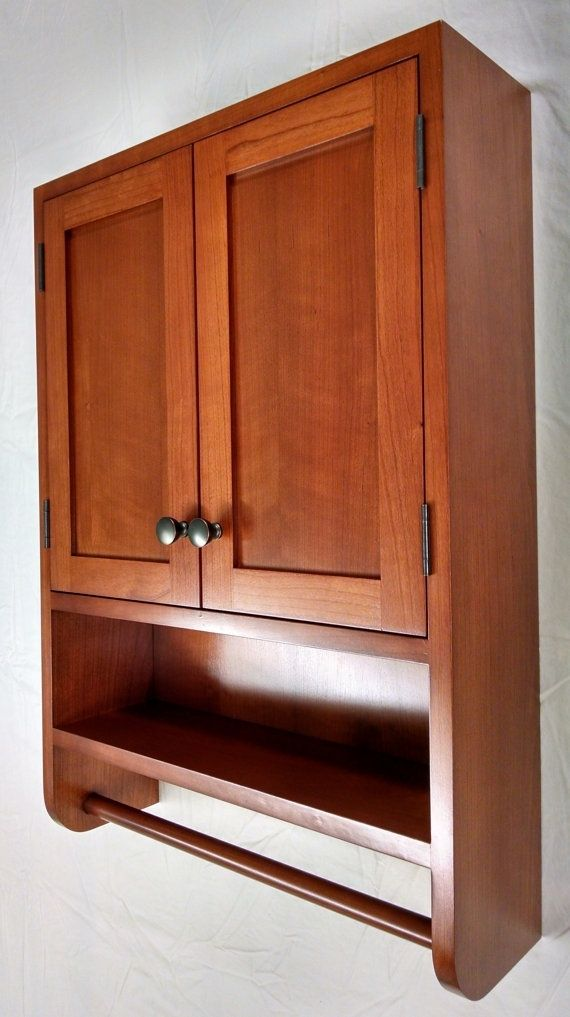 Hand crafted cherry hanging bathroom cabinet by woodlands 39 bounty - Custom made cabinet ...