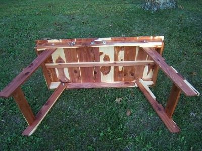Custom Made Folding Cedar Table