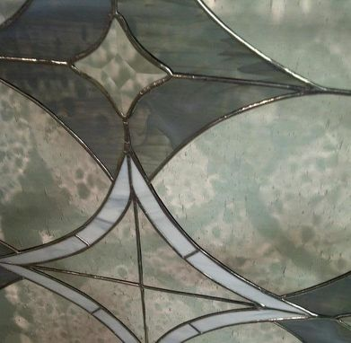 Custom Made Stained Glass Window Panel - Bevels And Greys  (W-20)