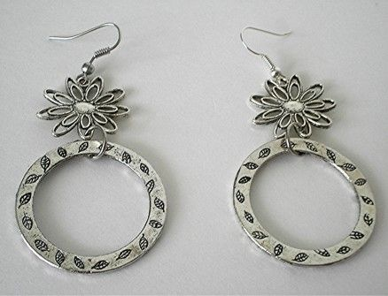 Custom Made Silver Tone Flower Earrings