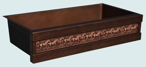 Custom Made Copper Sink With Running Horses & Dark Patina