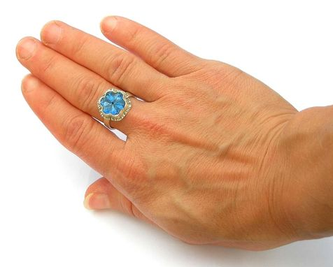 Custom Made Blue Flower Ring, Sapphire Blue Ring, Glass Treasure Ring