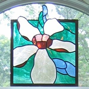Custom Made Cape Cod Floral Stained Glass Window
