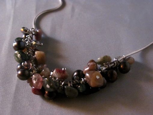 Custom Made Sterling Silver Snake Chain Tourmaline Beads, Brown Peacock Pearls