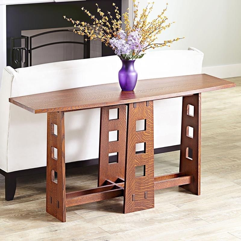 Buy a hand made arts and crafts style sofa or hall table for Arts and crafts sofa table