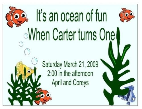 Custom Made Personalized Finding Nemo Childs Birthday Invitation Set