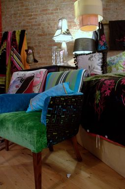 Custom Made Upholstered Vintage Chair In Turquoise, Kelly Green And Blac