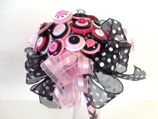 Custom Made Polka Dot Wedding Button Bouquet Set