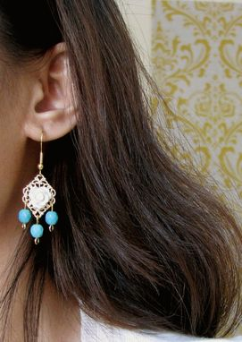 Custom Made Gold Filigree Chandelier Earrings With Rose Cabochons And Turquoise Beads