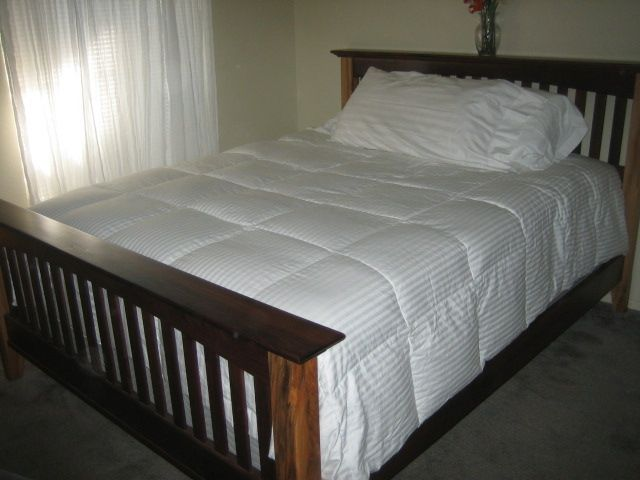 Handmade Mission Style Black Walnut And Hickory Queen Size Bed by