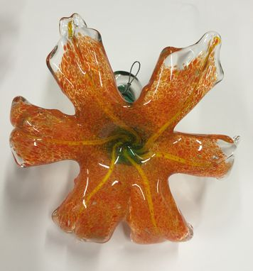 Custom Made Glass Tiger Lily Wall Art