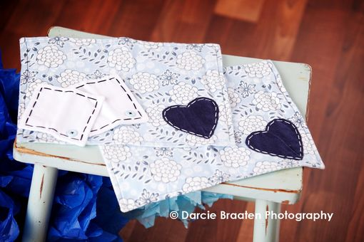 "Custom Made Soft Flannel Placemats And Table Napkins ""Blueberry Muffin''"