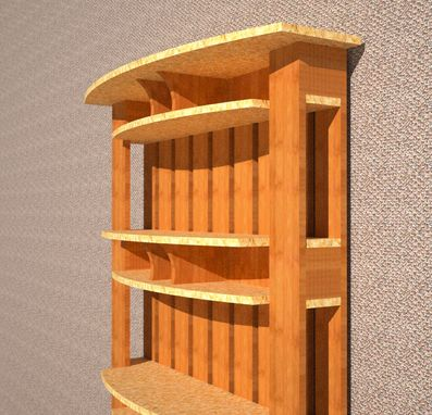 Custom Made Bookcase With Curved Double Shelves