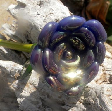 Custom Made Purple And Gold Long-Stemmed Glass Rose Ornament