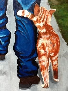 Custom Made Man Walking With Cat Oil Painting