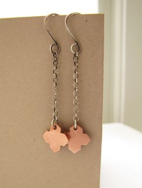Custom Made Geometric Mixed Metal, Copper Sterling Silver Dangle Earrings.