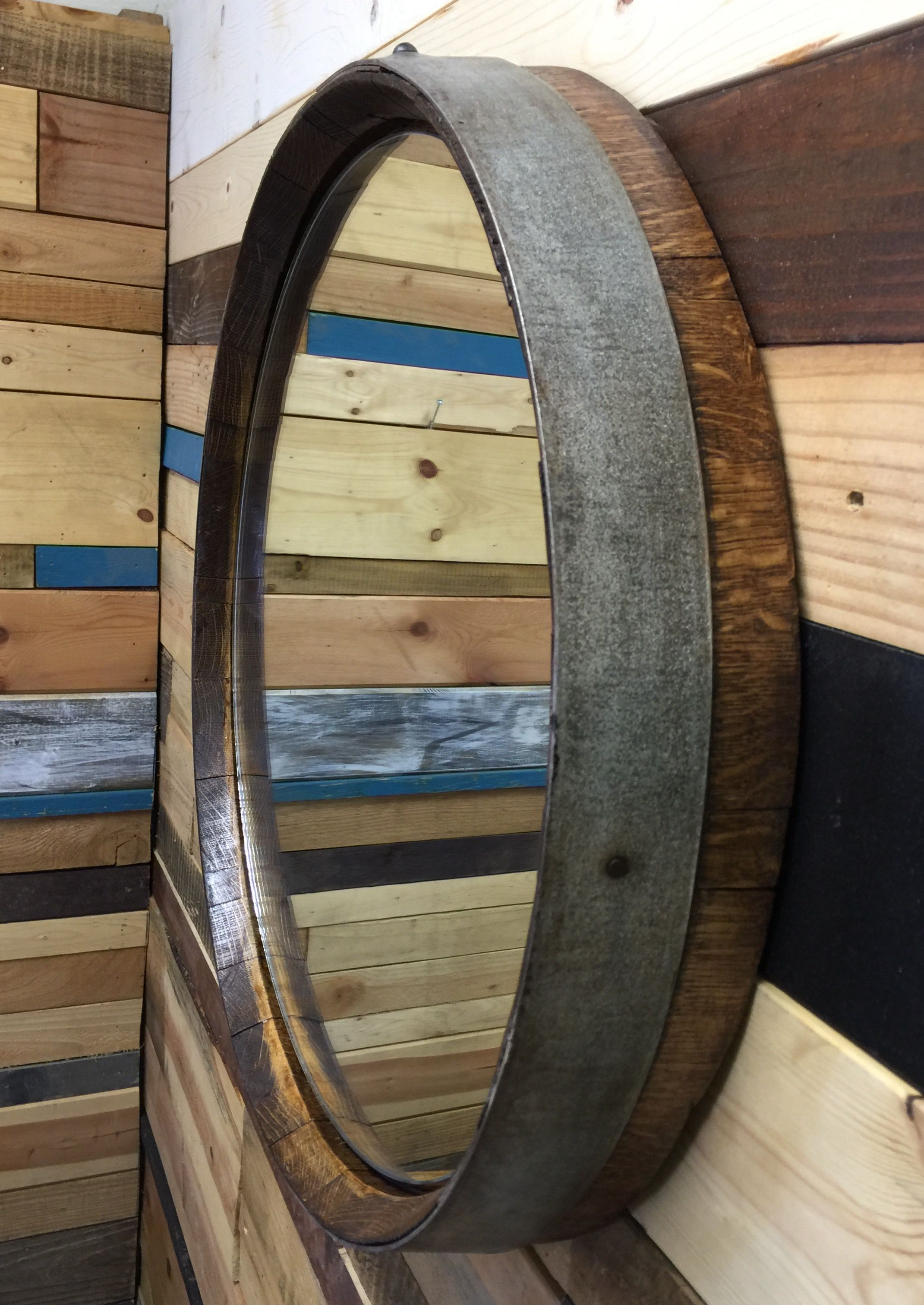 Buy A Custom Reclaimed Wine Barrel Top Mirror Made To
