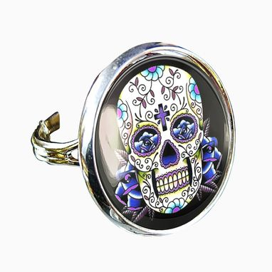 Custom Made Day Of The Dead Tattoo Skull Silver Glass Ring 56-Srr