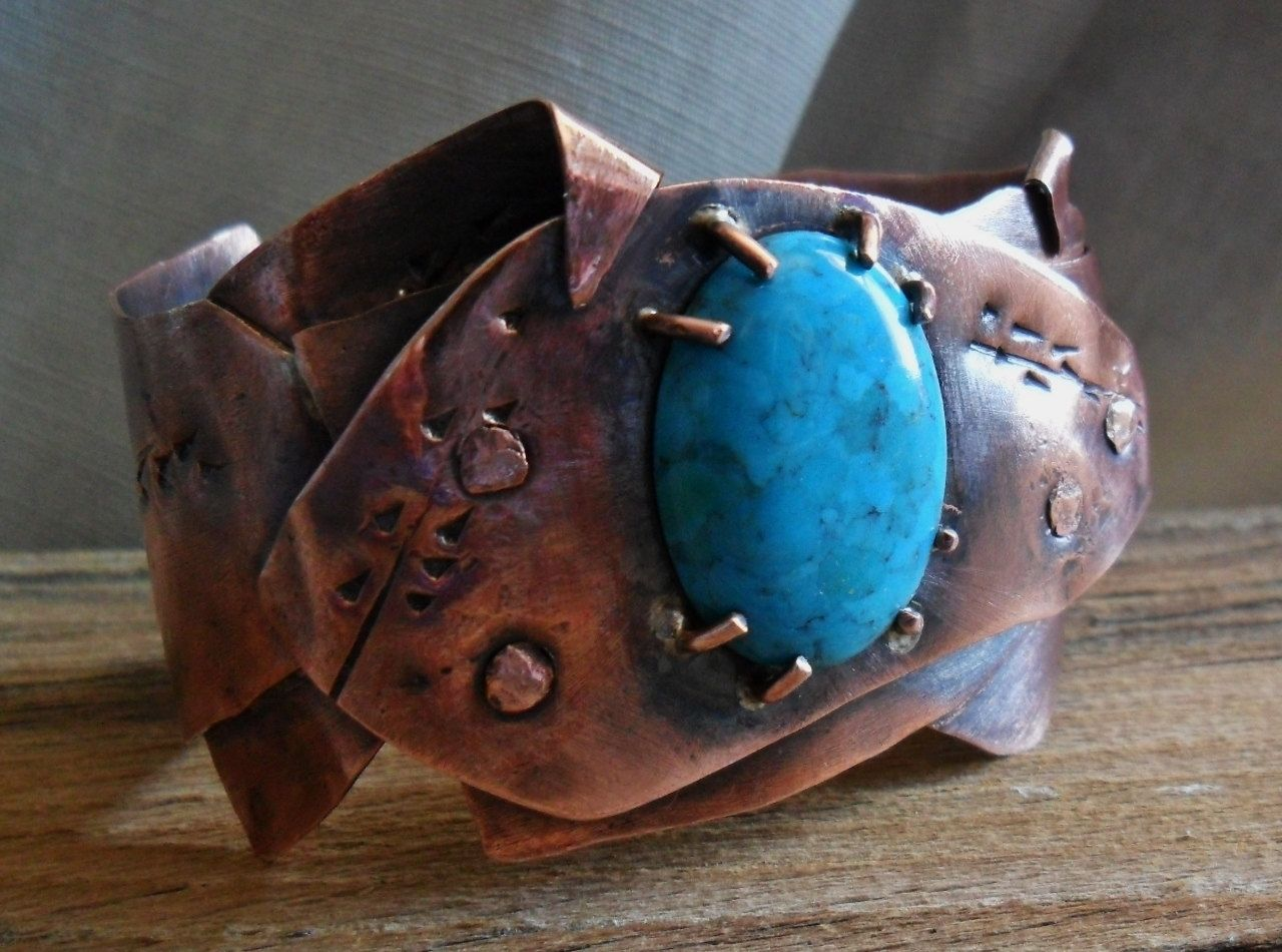 Custom Made Riveted And Folded Copper Cuff Bracelet With Turquoise Stone