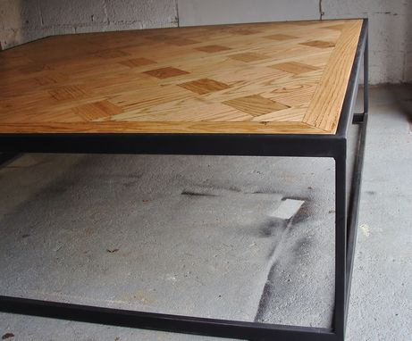 Custom Made Steel And Wood Coffee Table - Parquet Style