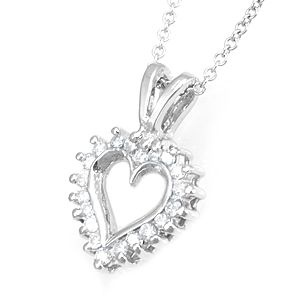 Custom Made Diamond Open Heart Pendant In 14k White Gold, Heart Pendant, Love Pendant