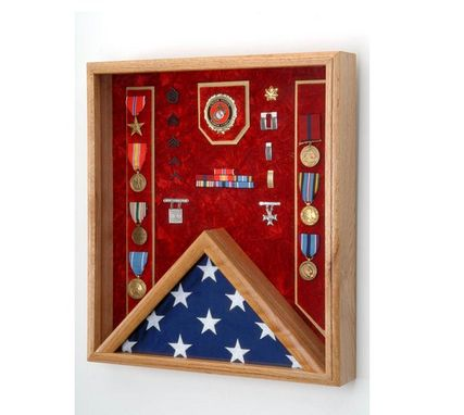 Custom Made Us Marine Corps Flag Medal Display Case