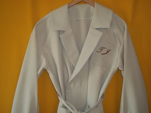 Custom Made Mans Robe, Beige W/ White Satin Pin Stripes