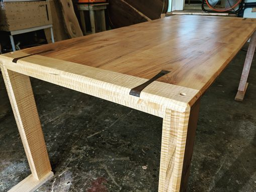 Custom Made Solid Maple Dining Table With Walnut Inlay