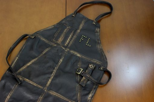 Custom Made Leather Apron In Distressed Leather Custom-Made Bbq Restaurant Fashion Name Initials Studs
