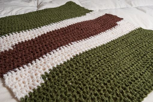 Custom Made Olive, Brown, And Cream Baby Bamboo Blanket